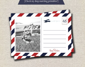 Vintage Airplane Thank You Card - red and navy   Vintage Airplane Postcard   Aviator Thank You Card   Aviator Postcard   Airplane Party
