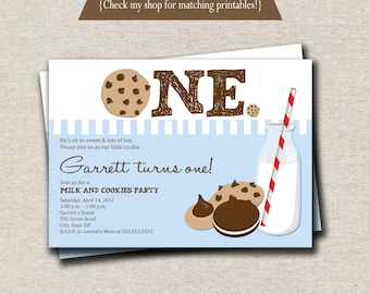 Milk and Cookies Invitation   Milk & Cookies Invite - blue and brown   digital printable
