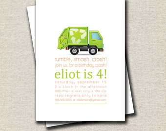Garbage Truck Birthday Invitation | Garbage Truck Invite | Trash Party Invitation | Trash Party Invite | Garbage Party Printable