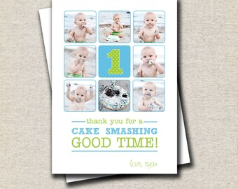 Cake Smash Thank You Card, collage, birthday thank you card, boy thank you card, blue, green, plaid, polka dots