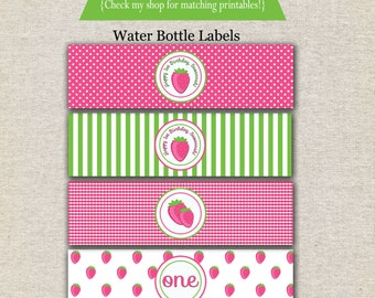 Strawberry Shortcake inspired water bottle labels, drink labels, wrappers, tags, stickers, printables, digital