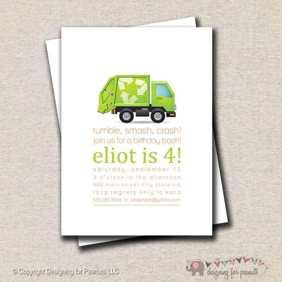 Garbage Truck Birthday Invitation Garbage Truck Invite – Garbage Truck Birthday Invitations