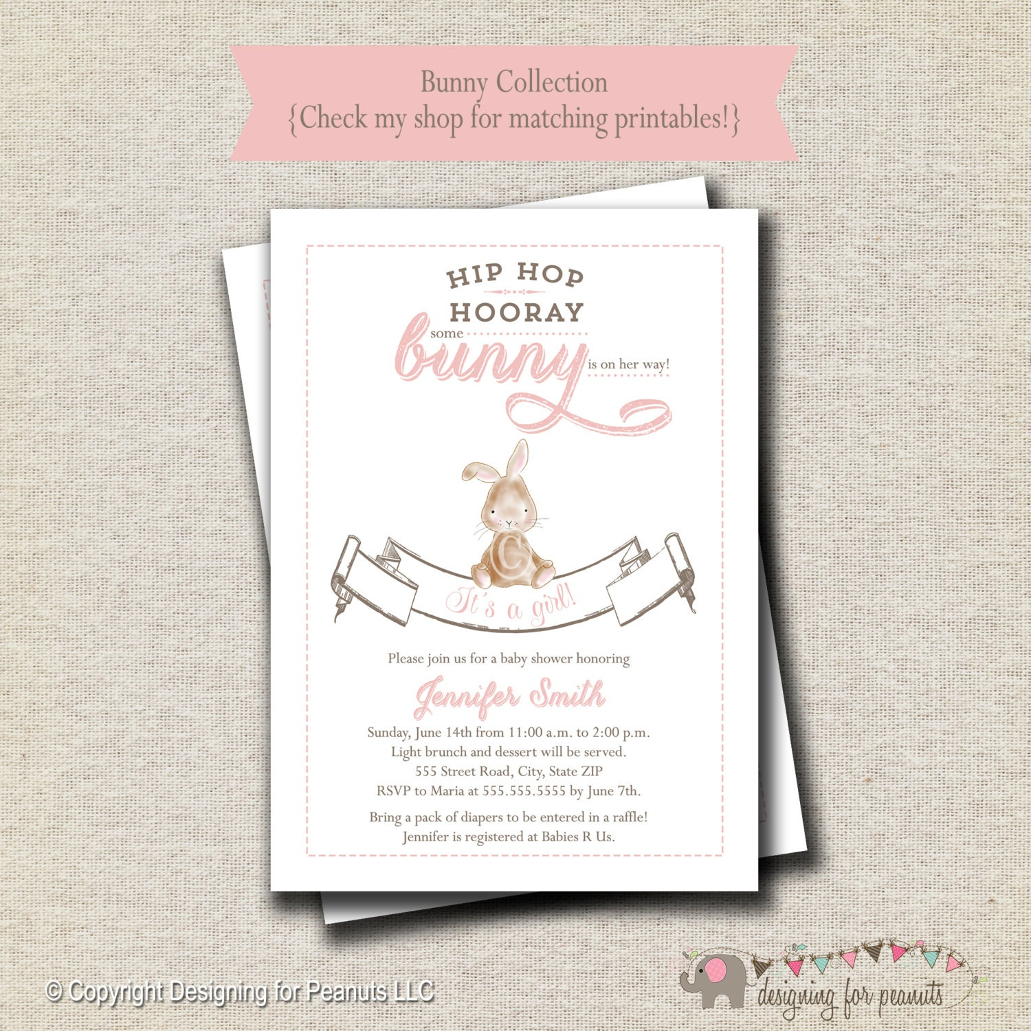 bunny baby shower invitation bunny baby shower invite