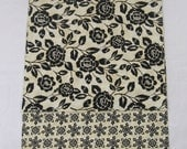 Black Roses Table Runner Reversible Rectangular Black Flowers Off White Gift for Her Damask Home Decor 16x40
