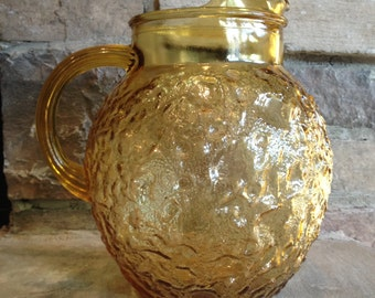 Vintage Amber Pitcher Anchor Hocking Milano / Lido Ball Shape Honey Gold Glass- #4264