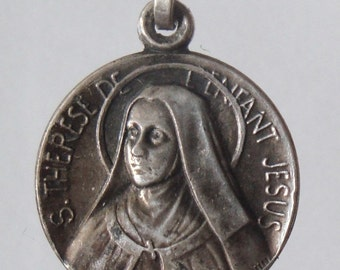 Saint Therese Vintage Religious Medal Pendant on 18 inch sterling silver rolo chain