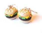 Hamburger Earrings Food Earrings ( polymer clay funny jewelry food jewelry kids jewelry gift for her handmade miniature food fast food )