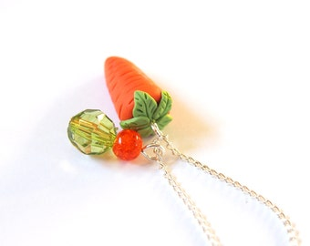 Carrot Necklace ( carrot jewelry miniature food polymer clay food jewelry vegetable necklace veggie necklace carrot pendant orange necklace)