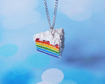 Rainbow Cake Necklace ( sliced cake food jewelry miniature food polymer clay food rainbow necklace kawaii jewelry mini food necklace )