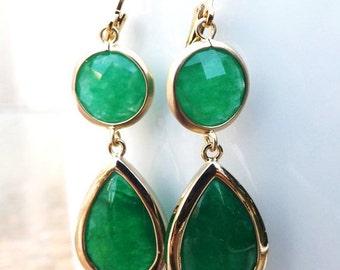 Green Earrings, Emerald Green Earrings, Gold Earrings,Gold Green Earrings,Bridesmaid Gift,Bridal,Wedding,Delicate,Dainty, Dark Green,Minimal