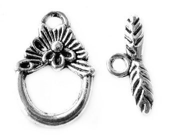 Toggle Clasps : 10 sets Antique Silver Flower Toggle Clasps | Silver Necklace Bracelet Toggle Clasps -- Lead, Nickel & Cadmium Free 328.J3A
