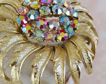 Vintage Gold Metal and Rhinestone Flower Brooch by Coro