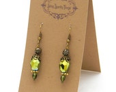 Pretty little glass bead earrings with filigree - special holiday price!  gifts under 10 SST3109