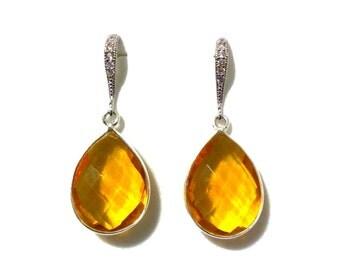 Yellow Citrine Earrings, Quartz Earrings, Bridesmaid Earrings, Gemstone Earrings, Pear Earrings, Teardrop Earrings, Gift for Her, HERA