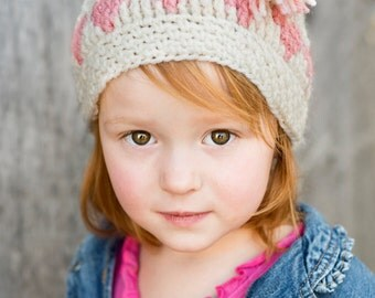 Love-ly Cap Crochet Pattern - Valentine's Day Hat Pattern - All Sizes Baby, Toddler, Child, and Adult Included - Instant Digital Download