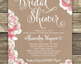 Printed Bridal Shower Invitation - Romantic Pink Peony Floral - Bridal Luncheon, Bridal Tea Invitation