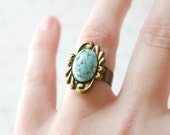 Turquoise Ring - Vintage Faux Turquoise - Adjustable Ring - Statement Ring - Turquoise Jewelry - Boho Chic Jewelry - Cocktail Ring