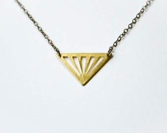 Triangle Necklace - Triangle Jewelry - Golden Triangle - Geometric Jewelry - Modern Brass Jewelry - Edgy Jewelry - Geometric Necklace