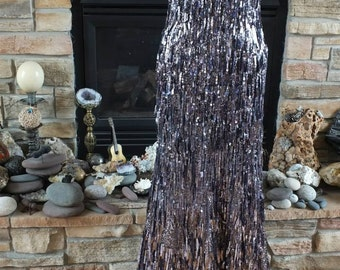 Steel Gray Fringed sequin sz 14 flapper dress 1920s wedding party