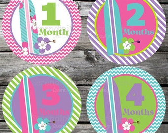 Set of Baby Monthly Stickers Surf Girl Baby Milestone Stickers Baby Month Stickers Baby Bodysuit Sticker Baby Shower Photo Prop