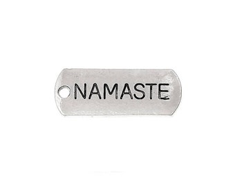 10 Namaste Word Charms in Silver Tone - C2095