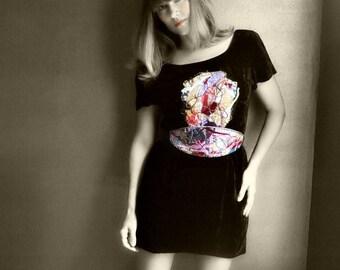 Silk velvet dress/ fiber art dress/ obi belt/ handmade/ upcycled/ black velvet dress/ art dress
