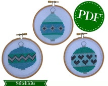 Stitch your own Christmas Baubles PDF Chart, Hoop Ornaments