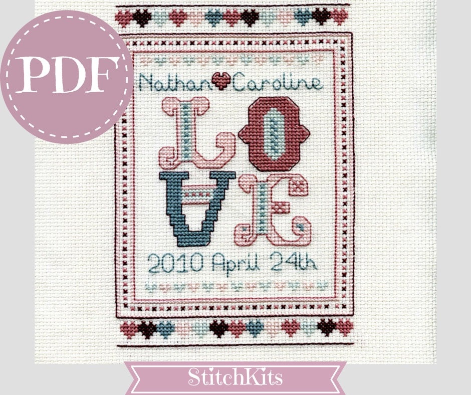 love wedding sampler pdf cross stitch chart by stitchkits on etsy