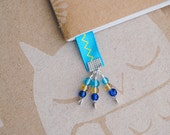 Blue Ribbon Beaded Bookmark Blue and Yellow Book Club Bookmarks
