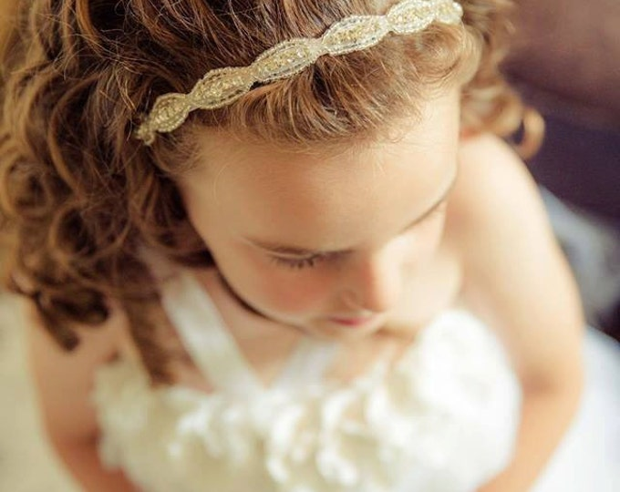 Flower Girl Headband, Flower Girl hair Accessories, Rhinestone Headband, Easter headband, little Girl headband, Headband, flower girl wreath