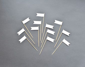 Blank Small Flags - Food Signs - Cupcake Toppers - DIY Place Cards - Any Occasion