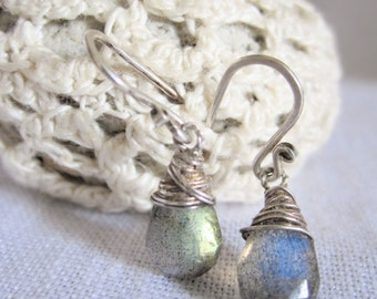 Earrings Facetted Labradorite Wire Wrapped Sterling Silver .