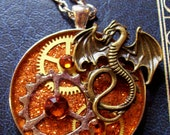 Steamunk Gothic Dragon Pendant (N439) -  Gears under Resin - Brass Dragon - Swarovski Crystals  - Brass Chain