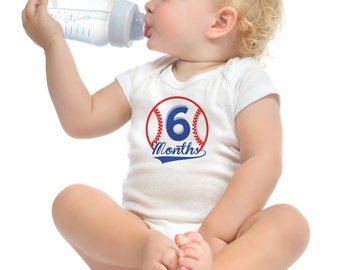 Baseball Baby Boy Monthly Onesies, 12 Month Set