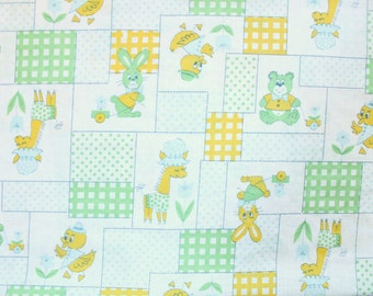 Vintage Animal Green + Yellow + Aqua Baby Fitted Crib Sheet
