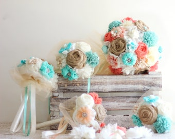 coral aqua blue Wedding bouquet set DEPOSIT fabric flowers bridal bouquet bridesmaids bouquets wrist corsages