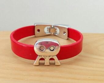 Alien bracelet, leather bracelet, red cuff, red leather cuff, martian cuff, martian bracelet, red martian bracelet,space bracelet,space cuff