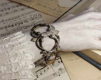 Aria- Antique French Brass Hardware- Paris Opera House Souvenir- French Guilloche Enamel- Upcycled Altered- One of a Kind Bracelet