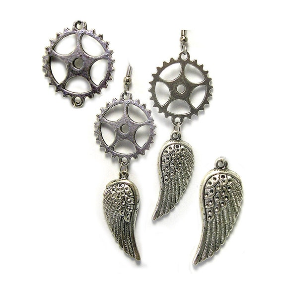 Handmade Upcycled Dangle Silver Steampunk Earrings, winged earrings, steampunk dangle earrings, steampunk earrings with wings, gear earrings