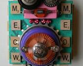 Recycled Art - F.I.S.H.T.A.I.L. - Cat art - Mixed Media Assemblage -  Found Object Art by Jen Hardwick