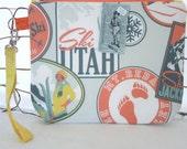 Zipper Wristlet Clutch Bag: Retro Ski Theme Knitting Bag, Zip Project Bag