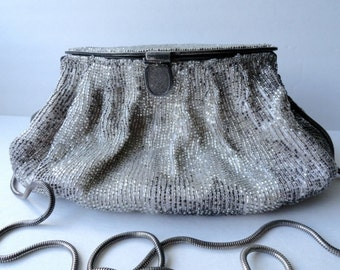 Vintage Handbags|Sterling Silver Beaded  Chain Purse|Vintage Glass Beaded Silver Chain Cocktail Purse| Silver Beaded Chain Evening Bag