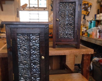 Napoleon's Table-Nightstands Made from Reclaimed Louisiana Cypress and Ceiling Tin