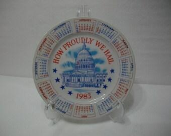 1983 Vintage Transferware Decorative Patriotic Calendar Plate