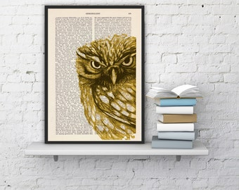 Summer Sale Dictionary page book art printYellow Owl Print on Vintage Book altered art print illustration book print  art ANI018
