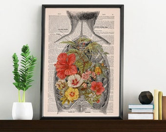Summer Sale Nature on an Open Back human Anatomy Print on dictionary page gift  love wall art, human anatomy, science, art SKA098