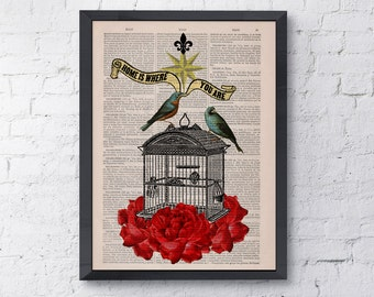 Upcycled book print quote Blue birds cage with roses collage  Print on Vintage Dictionary Book BPAN189