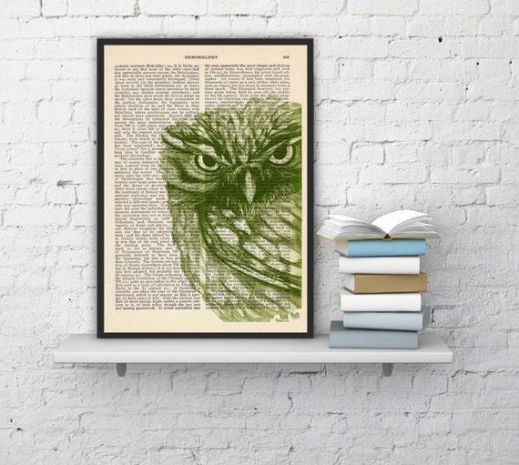 Christmas Sale Owl Dictionary page book art print Green Owl Print  Vintage Book altered art dictionary  illustration book print BPAN034