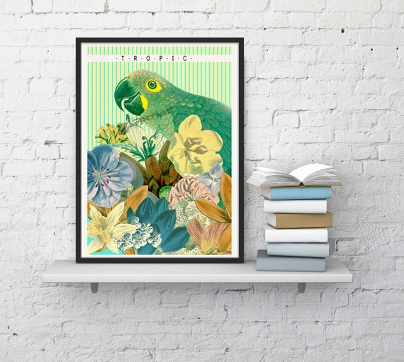 Tropical Poster Art - House decor Original Art - Parrot with exotic flowers ANI245WA4
