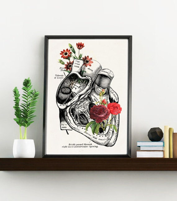 Summer Sale Flowery heart, white art Print- A4 Wall art. Human anatomy print Chic Science prints Human anatomy and flowers SKA080WA4